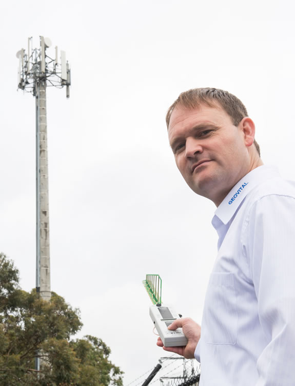 Radiation output of a mobile phone tower is being measured