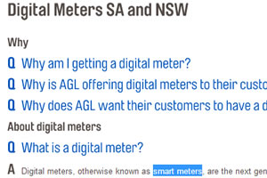 The word 'Smart Meter' is well hidden in AGL's website. But it is there...