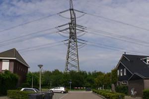 Homes built way too close power lines in Nieuw-Beijerland in the Netherlands.