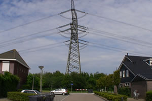 Homes built way too close to power lines in Nieuw-Beijerland in the Netherlands.