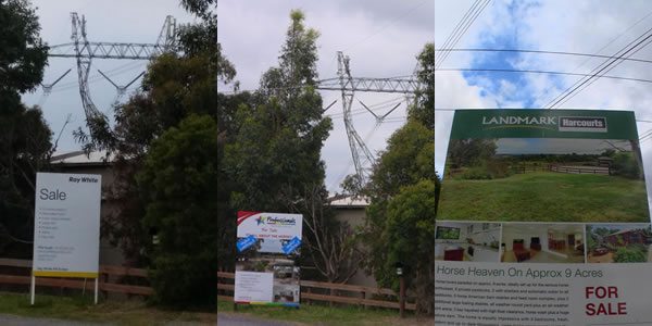 An example of one and the same property located near high voltage power lines. It is for sale frequently, gets sold and some time after is back on the market for a long time. High voltage power lines can be problematic at far greater distances, but small street power lines can also produce similar problems.