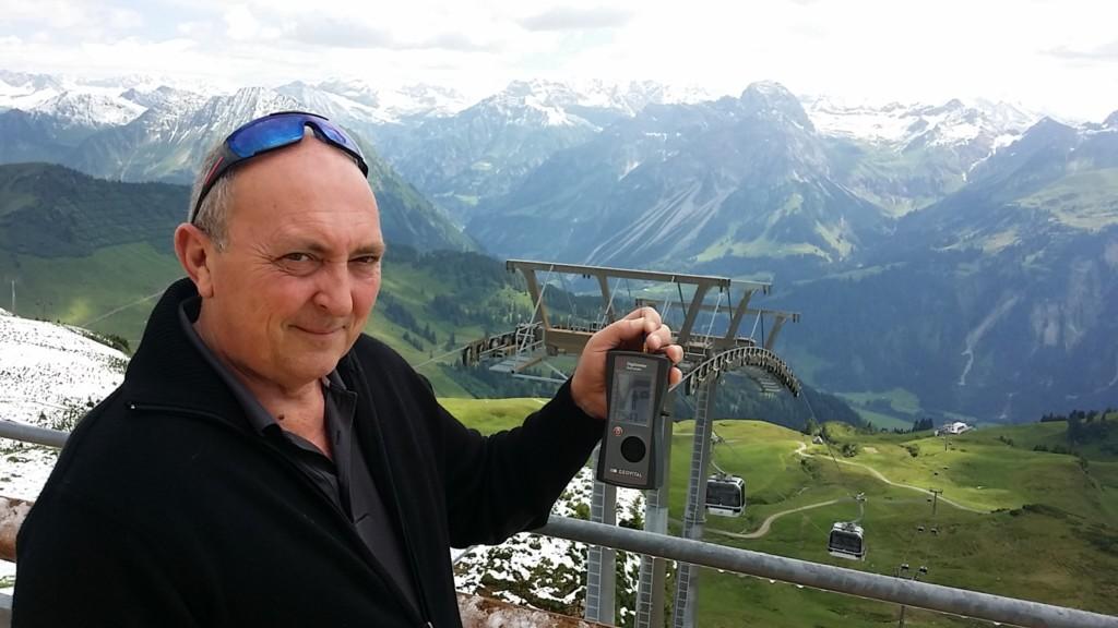 RF EMF radiation levels on top of Diedamskopf (2020m) in Schoppernau, Austria (phone tower on top of the mountain) 7541μV - photo by Patrick van der Burght (featuring Martin Kingsbury, Geovital UK)