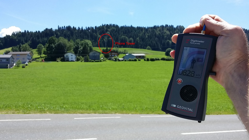 RF radiation in Krumbach, Austria at some distance from phone tower transmitting up to Sulzberg - Photo by Patrick van der Burght