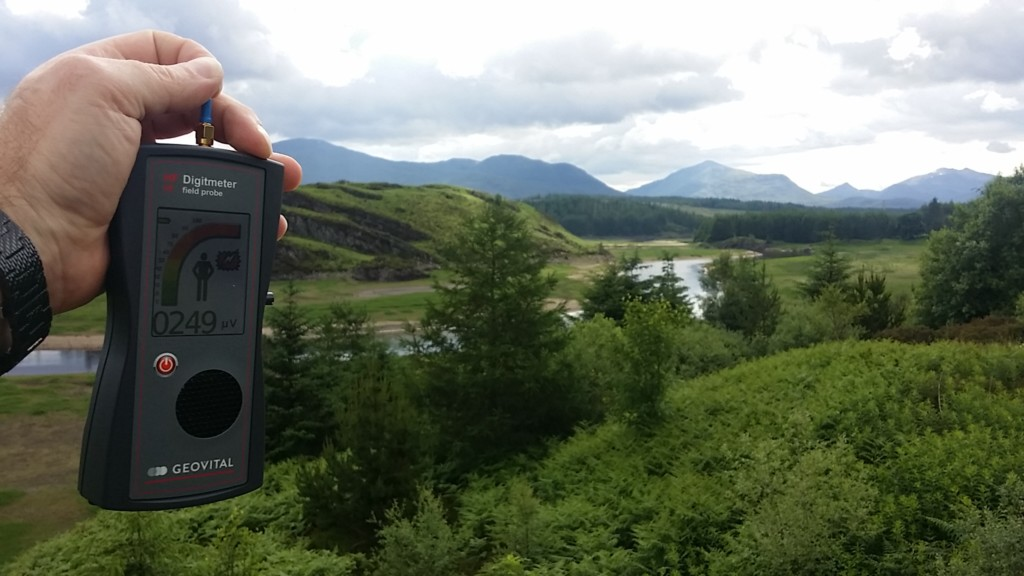 RF EMF radiation levels River Spean, Roughburn, Highland, Scotland, UK - Photo by Patrick van der Burght