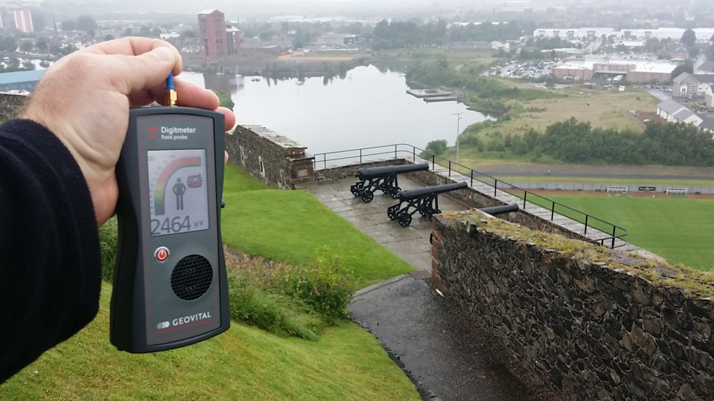 RF EMF radiation levels on the top of Dumbarton castle, Dumbarton Shire, Scotland, UK - Photo by Patrick van der Burght