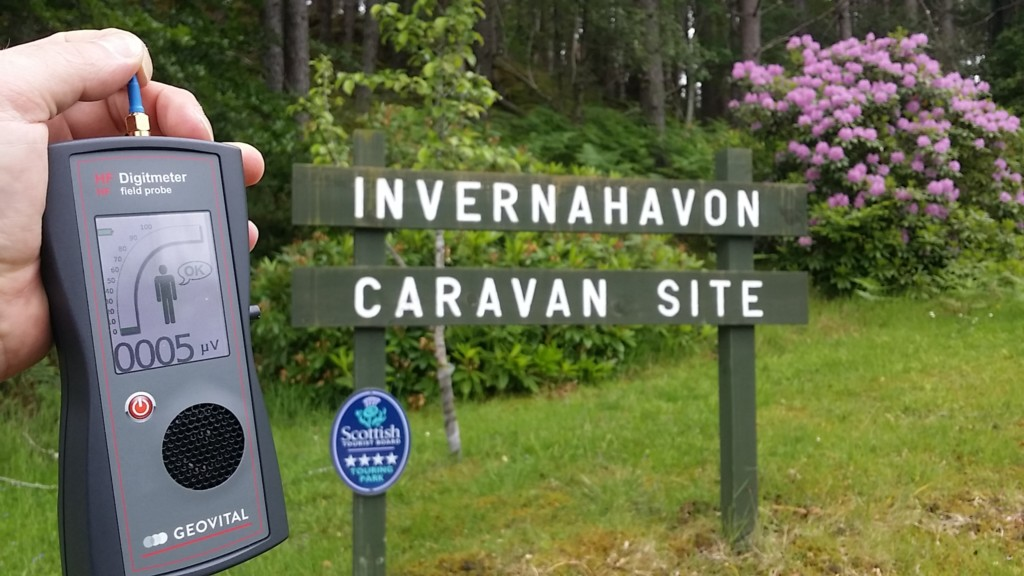 RF EMF radiation levels Invernahavon, Caravan Site, Glentrum, Newtonmore, PH20 1BE, Scotland, UK - Photo by Patrick van der Burght