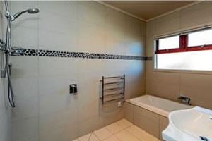 Bathroom in the EMF shielded hemp home in New Plymouth