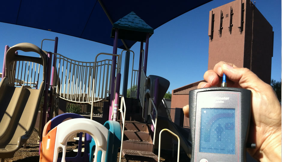 Off the scale EMF radiation exposure from cell phone tower in kids playground from Shepherd of the Hills Lutheran Church, 16150 E. El Lago Blvd, Fountain Hills, AZ  85268, on the HF Field Probe - Photo by Freelance Consultant
