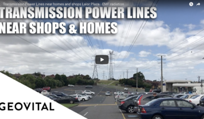 EMF radiation from transmission power lines near homes and shops