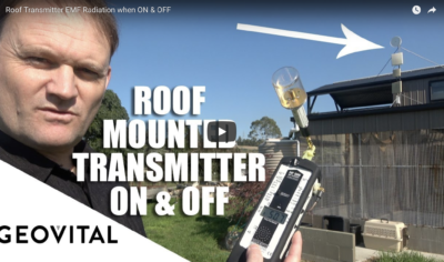 Roof mounted transmitter dish radiation when on and off